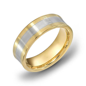 18k Gold Two Tone Yellow Gold & WG Comfort fit 6mm Wedding Band Ring