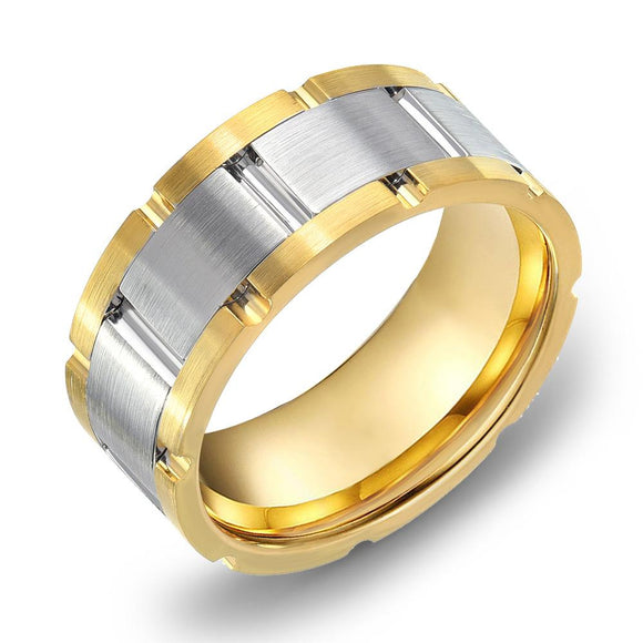 18K Gold two tone Yellow Gold & Satin WG Comfort fit 8mm Wedding Band Ring