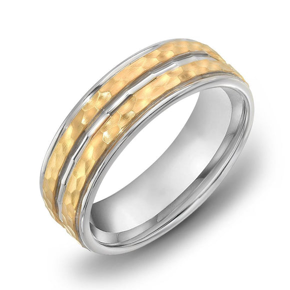 18k Gold Two Tone Yellow Gold & DC WG Comfort fit 6mm Wedding Band Ring