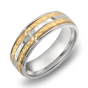 14k Gold Two Tone Yellow Gold & DC WG Comfort fit 7mm Wedding Band Ring