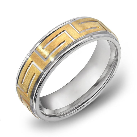 18k Gold Two Tone Yellow Gold & WG Satin Comfort fit 7mm Wedding Band Ring
