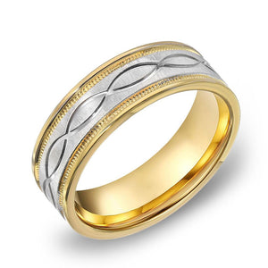 14k Gold Two Tone Yellow Gold & Milgrain WG Comfort fit 7mm Wedding Band Ring