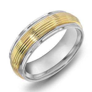 18k Gold Two Tone Yellow Gold & Milgrain WG Comfort fit 6mm Wedding Band Ring