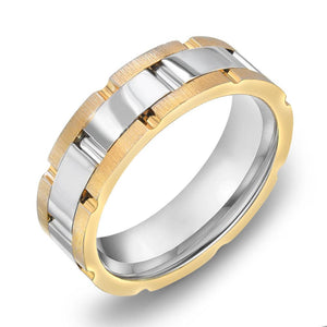 18k Gold Two Tone Yellow Gold & Satin WG Comfort fit 7mm Wedding Band Ring