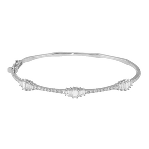 Diamond Baguette Round 18K White Gold Bangle