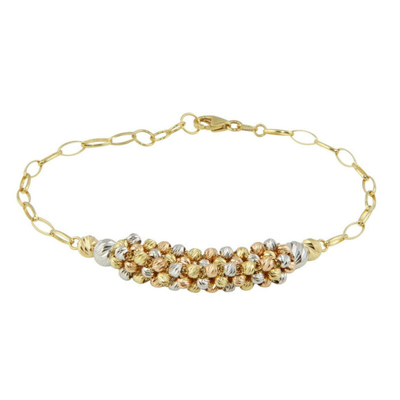 Mens Womens 18K Yellow Gold Multicolor D/C Ball Chain Bracelet