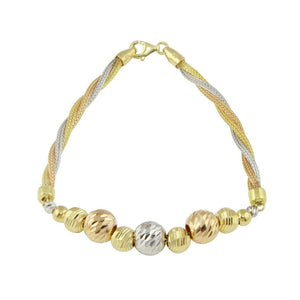 Mens Womens 18K Yellow Gold Multicolor D/C Ball Chain Bracelet Mesh Twisted