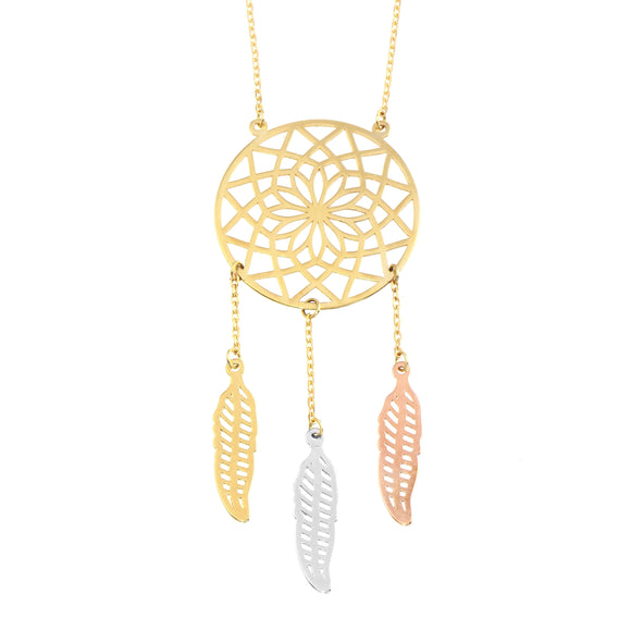 18K Yellow Gold Filigree Dream Catcher Chain Necklace 16