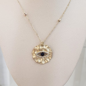 Women 18K Yellow Gold CZ Evil Eye Disk Necklace Adjustable