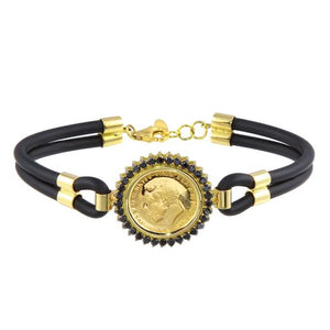 Womens 18K Yellow Gold Black Leather Quarter Coin Bracelet
