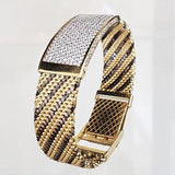 Women 18K Yellow Black Gold Bar CZ Bangle Bracelet