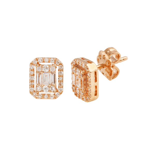 Diamond 18K Rose Gold Baguette Earrings