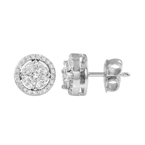 Diamond 18K White Gold Illusion Marquise Round Earrings