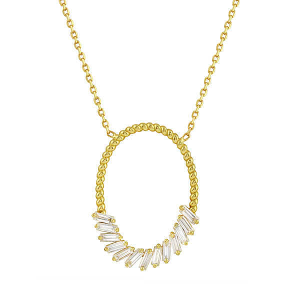 18K Yellow Gold 13 Baguette Diamond F-G VS-SI1 Pendant Necklace