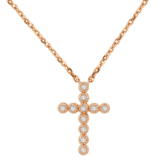 Diamond 14K Rose Pink Gold Tiny Cross Chain Necklace