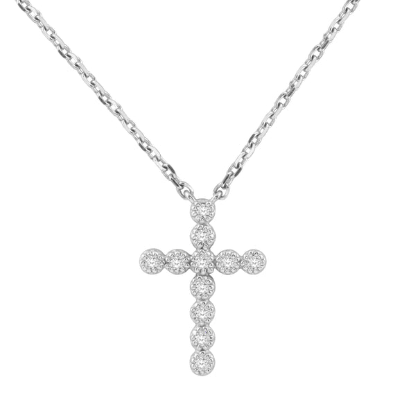 Diamond 14K White Gold Tiny Cross Chain Necklace