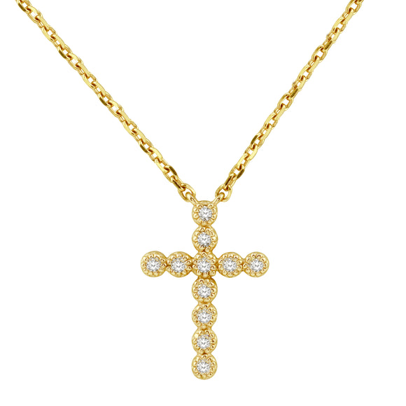 Diamond 14K Yellow Gold Tiny Cross Chain Necklace