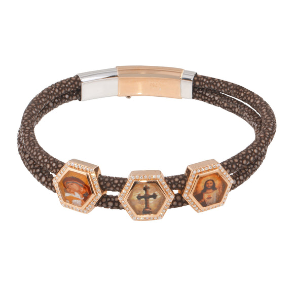 Diamond 18 K Rose Gold Holy Mary Cross Jesus Leather Bracelet For Men
