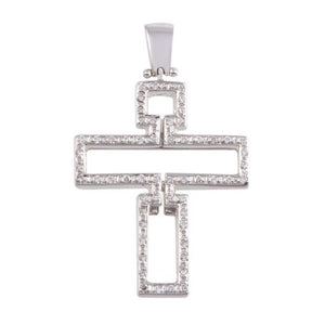 Womens 18K White Gold 0.23Ct Real Diamond Cross Pendant