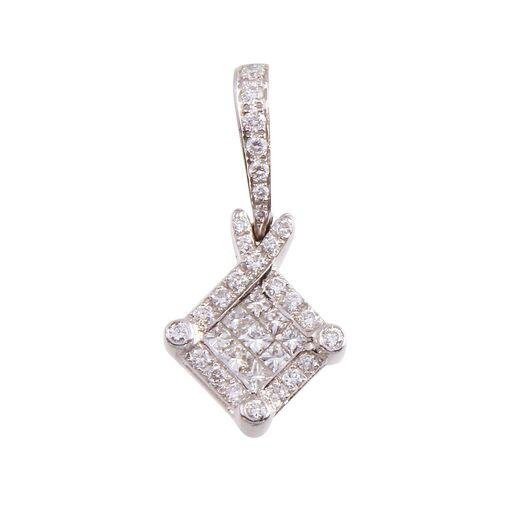 Diamond Invisible Princess Pave18K White Gold Pendant
