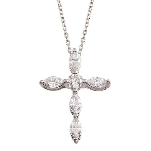Diamond Marquise 18K White Gold Cross Chain Necklace