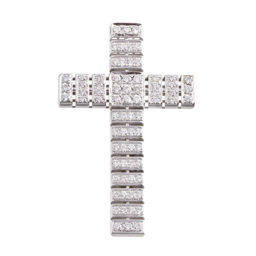 Diamond 18K White Gold Cross Pendant