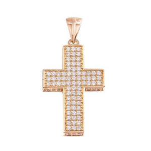 Diamond 18K White Rose Gold Pink Pave Cross Chain Necklace