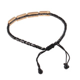 Diamond  18K Rose Gold Onyx Shamballa Adjustable Bracelet