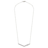 Diamond Solid 18K White Gold Baguette V Shape Pendant  Necklace