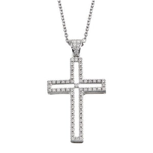 Diamond 18K White Gold Cross Pendant Chain Necklace