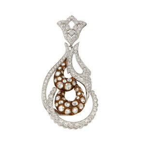 18K White Gold with Diamond  Falamank Antique Vintage style  Pendant