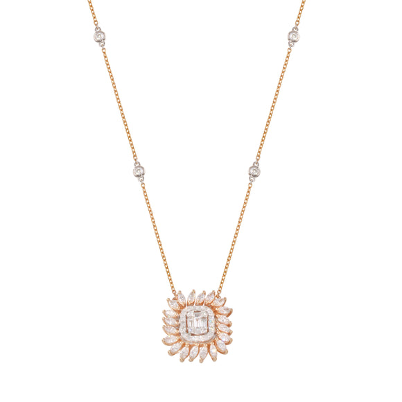18k Solid Rose Gold Diamond Marquise Baguette Two Tone Pendant  Chain Necklace