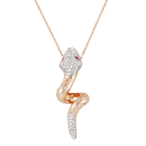 Diamond 18k Solid Rose Gold Two Tone Snake Ruby Eyes Pendant Chain Necklace