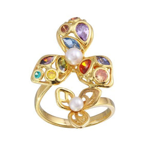 Women 18K Yellow Gold CZ Multicolor Cocktail Ring