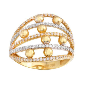 Woman 18K Yellow Gold CZ Micro Pave Ring