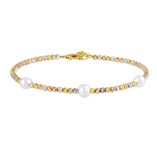 18K Solid Gold Beads Multi Color Pearls Bangle Bracelet Adjustable 6.5-7 inches