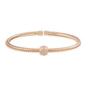18K Rose Gold Twisted Bangle Cuff Bracelet Adjustable CZ
