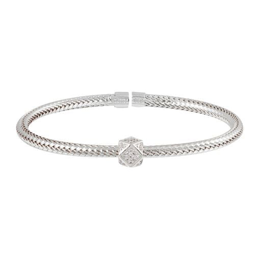 18K White Gold Twisted Bangle Cuff Bracelet Adjustable CZ
