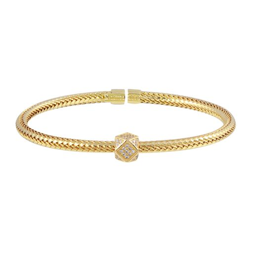 18K Solid Gold Twisted Bangle Cuff Bracelet Adjustable CZ