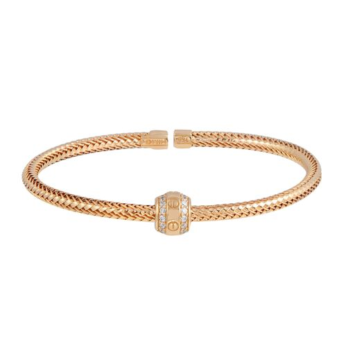 18K Solid Rose Gold Twisted Bangle Cuff CZ Bracelet Adjustable