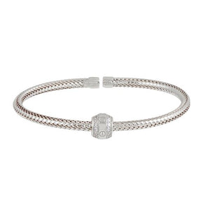 18K Solid Rose White Gold Twisted Bangle Cuff CZ Bracelet Adjustable