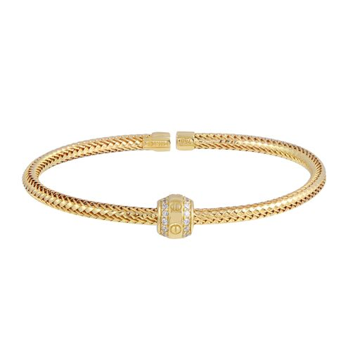 18K Solid Gold Twisted Bangle Cuff CZ Bracelet Adjustable