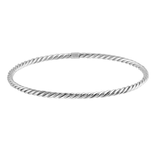 Women's 18K Solid White Gold  Bangle Twisted Bracelet