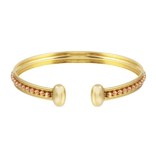 Women's 18K Solid Rose Yellow Gold Beads Cuff Bracelet