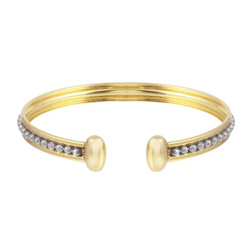 Women's 18K Solid White Yellow Gold Beads Cuff Bracelet
