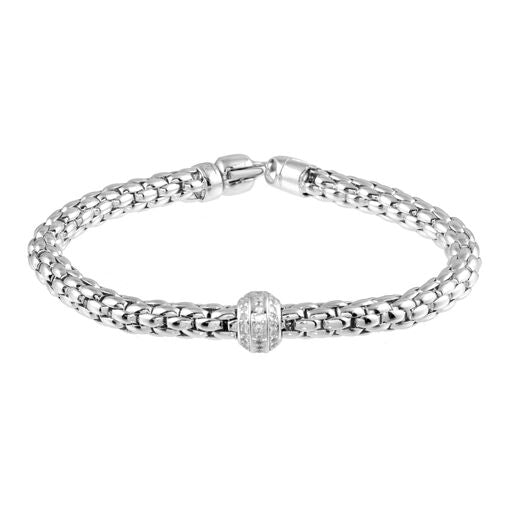 Women's 18K Solid White Gold  Flexible Snake CZ Bracelet