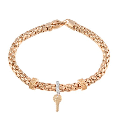 Women's 18K Solid Rose Gold  Flexible Snake CZ Key Charm Bracelet