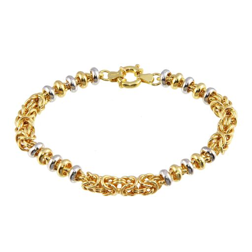 Women's 18K Solid Gold  Flexible Multi Color Beads Bracelet 8 inches