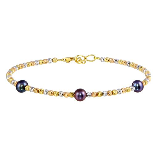 Women's 18K Solid Gold Multi Color Beads Pearl Cuff Bracelet Adjustable