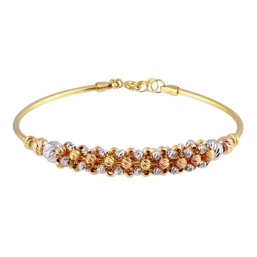 18K Solid Gold Multi Color Beads Bracelet Adjustable